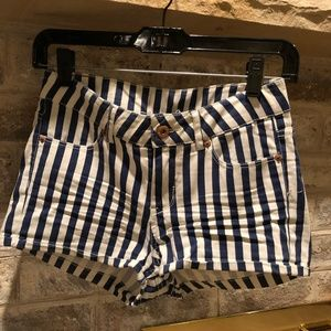 Striped Nautical Jean Shorts: Worn Once
